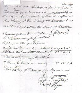 Receipt of money brought forward from the sale of estate of Abiah Godwin
