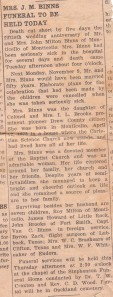 Perthina (Brooks) Binns Obituary 1942