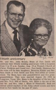 John and Blanche Binns 50th Wedding Anniversary Newspaper Clipping Aug 8 1984
